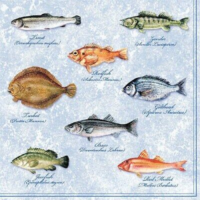 5 Paper Party Napkins Fishes Pack Of 5 3 Ply Tissue Serviettes Fish Ocean • 2.50£