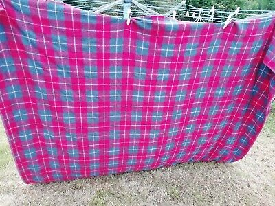 Vintage Double Welsh Blanket 100% Wool Red Blue White Check 70  X 90  • 65£