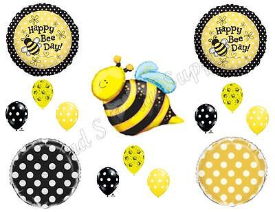 £13.88 • Buy BEE DAY POLKA DOTS HAPPY Birthday Party Balloons Decoration Supplies Bumblebee