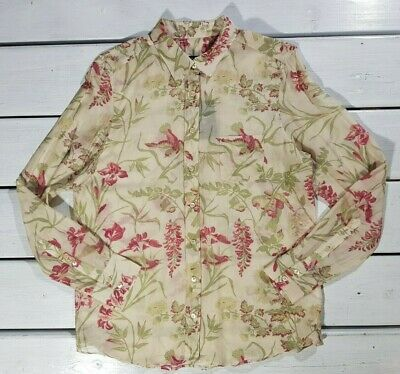 New Gant Women's Shirts Size 40 S Flower & Birds Voile Blouse See Though Seawood • 55.72£