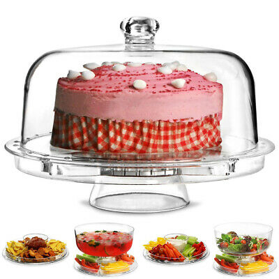 £16.95 • Buy Clear 5-in 1 Cake Stand Dessert Serving Plate Cupcake Holder Bowl With Dome Lid