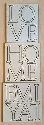 Wooden / Chipboard Die Cut Words - LOVE HOME FAMILY - Letters Approx 5cm • 7£