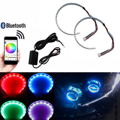 $21.99 • Buy 2pc Wireless RGB Multi-color LED Strips Demon Eye Halo Ring Headlight APP Remote