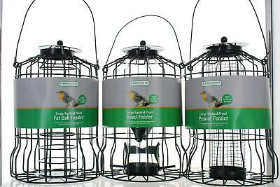 Large Green Squirrel Proof Wild Bird Feeders Seed/ Fat Ball/Nut Feeding Stations • 7.99£
