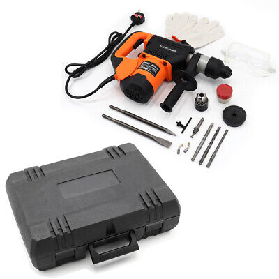 £69.99 • Buy 1600W Electric Corded Drill Demolition Concrete Hammer Drill Chisels And Bit Set