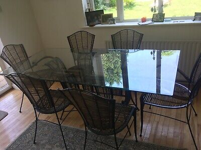 Second Hand Elegant Glass Table With Matching Iron And Wicker Chairs John Lewis  • 350£