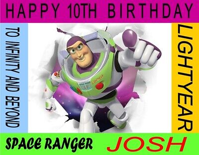 Personalised Buzz Lightyear Toy Story Birthday Cake Topper A4 Icing Sheet • 5.50£