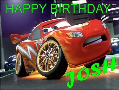 Personalised Cars Lightning Mcqueen Birthday Cake Topper A4 Icing Sheet • 5.50£