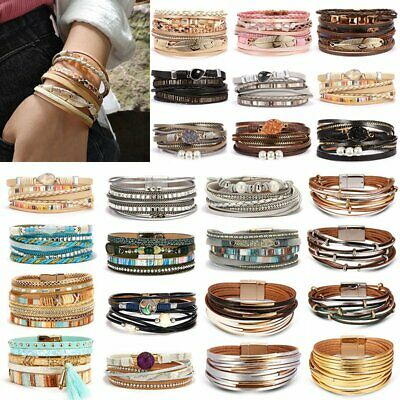 $2.52 • Buy Women Multilayer Leather Bracelet Fashion Magnetic Clasp Bangle Wristband Cuff
