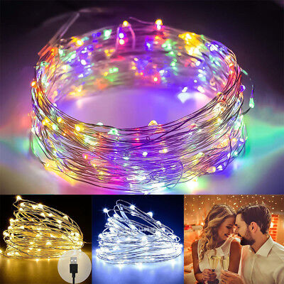 200 LED Micro Copper Wire String Fairy Lights Xmas Party Light Decor USB Plug In • 4.99£
