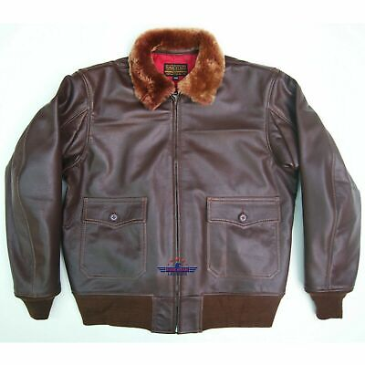 $210 • Buy Vintage WWII Repro M422A AIR FORCE G1 Goat Leather Flight Jacket Russet Brown