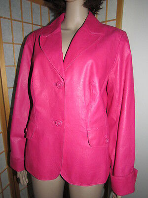 $ CDN75.89 • Buy DANIER L Rose Pink Genuine Quality Leather Long Sleeve Buttons Boutique Jacket