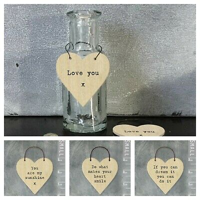 £1.75 • Buy East Of India Tiny Miniature Wooden HEART Messages Plywood Gift Tags Keepsake