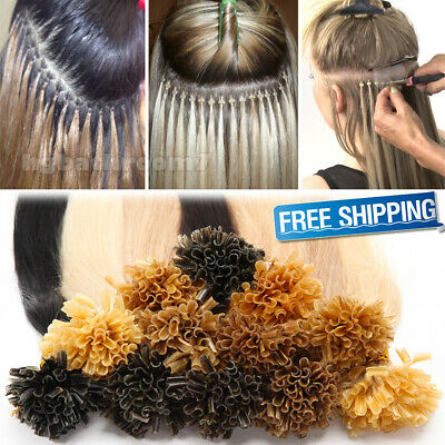 $21.34 • Buy 200S Fusion Keratin Pre Bonded Nail/U Tip Real Human Hair Extensions US ON SALE