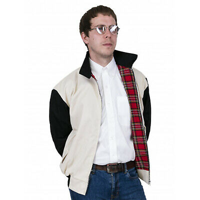 Relco Men's Harrington Beige Stone & Black 50's Vintage Look Rockabilly Jacket   • 36.99£