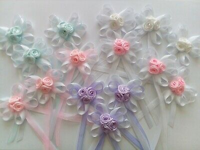 Satin Ribbon Bows  W/roses  And Tail Appliques Decoration DIY Scrapbook • 4.49£