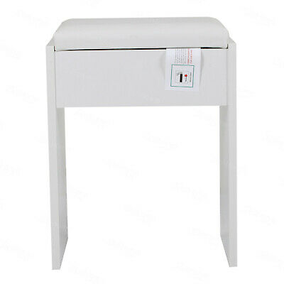 Dressing Table Stool Vintage Soft Makeup Bench Cushioned Chair Piano Seat White • 21.99£