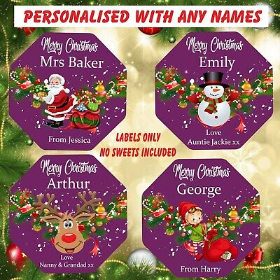 Personalised Chocolate LABELS ONLY Fits Quality Street Tub Christmas Elf,Santa • 3.49£