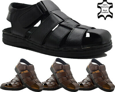 Mens Real Leather Touch Strap Summer Beach Gladiator Mules Walking Hiking Shoes • 16.95£