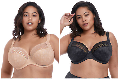 ELOMI Kim Full Cup Underwire Supportive Bra Luxury Lingerie BLACK & CARAMEL 4340 • 32.88£