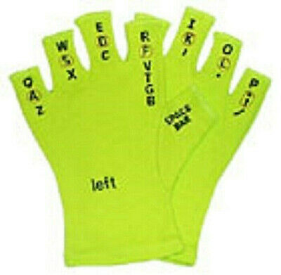 $10 • Buy Touchtypers Keyboarding Typing Computer Gloves Sewn Letters With Book Size Green