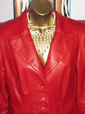 $ CDN69.99 • Buy DANIER S Red Quality Leather Long Sleeve Buttons Boutique Women Slim Fall Jacket
