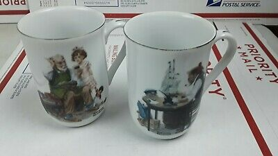 $ CDN21.11 • Buy Norman Rockwell Museum Porcelain Set Of 2 Coffee Tea Mugs Cups 1982
