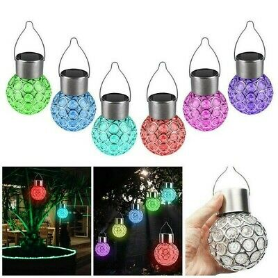 4/5X Solar Power Crystal Hanging LED Ball Lights Colour Changing Garden Lighting • 12.45£