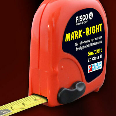 NEW Fisco Mark-Right Compact 5m / 16ft Right Handed Tape Measure Made In The UK  • 11.99£