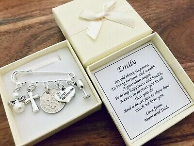 LUCKY SIXPENCE, 1st, FIRST HOLY COMMUNION, Charm, PIN, PERSONALISED Gift • 5.49£