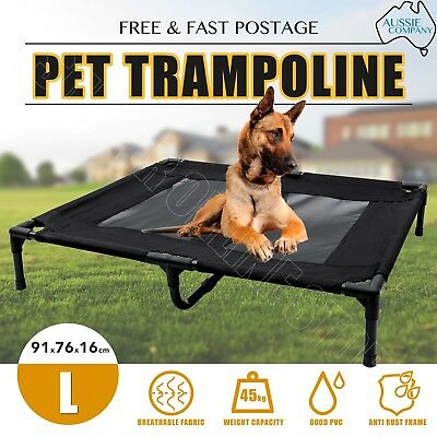 AU32.70 • Buy Pet Trampoline Bed Dog Puppy Cat Heavy Duty Frame Mesh Hammock Canvas Bed Large