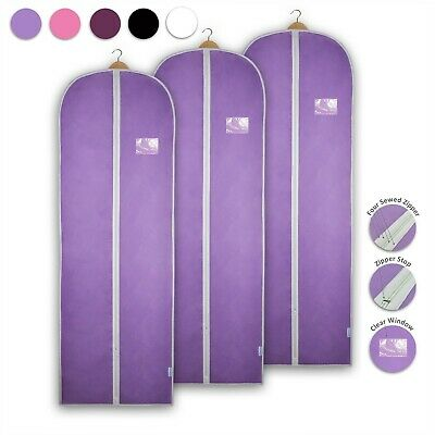 3x Garment Bag Bridesmaid Dress Cover Clothes Gown Breathable Storage Carrier • 14.99£