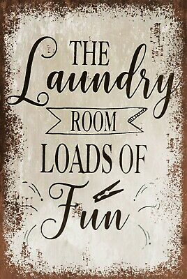 Laundry Room Fun Vintage Style Retro Metal Plaque Sign, Washing Utility Room • 6.99£