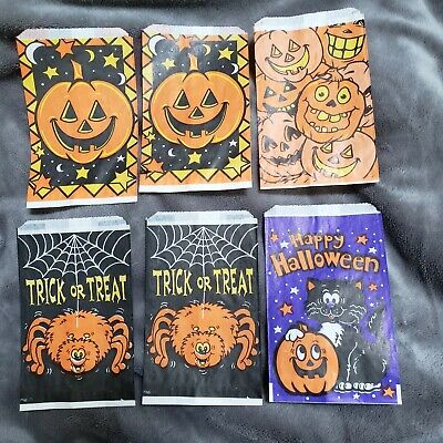 $ CDN9.22 • Buy Vintage Fun World Lot Of 6 Halloween Treat Bags UNUSED Out Of Pack 6  X 3 3/4