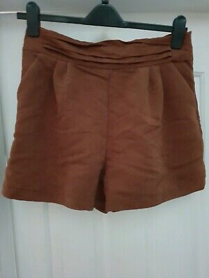 Topshop Brown Safari Shorts High Waisted Style With Pockets Size 14  • 10£
