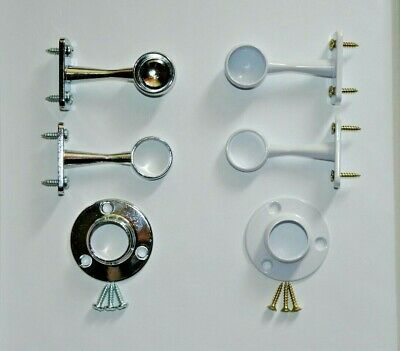 £2.75 • Buy Brackets Or Sockets For Pole Rail Wardrobe Fittings Support Chrome Or White 19mm