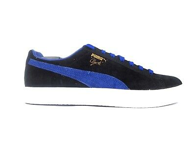 Puma Clyde 361466 02 Black Electric Blue Unisex Lace Up Casual Trainers • 33£