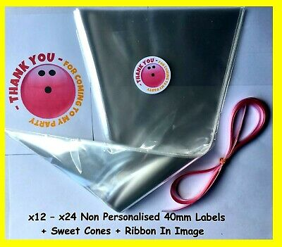 £1.95 • Buy 12/24 Non Personalised Bowling Pink Party Labels & Sweet Cones Kit Stickers