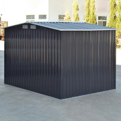 Heavy Duty Garden Storage Shed W Metal Base Sloped Roof - 8x6 Ft Anthracite Grey • 255.95£