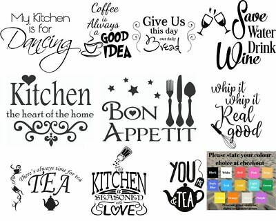 Wall Art Stickers For Kitchen, Removable Home Decor, Quality DIY Decal Quotes • 4.99£