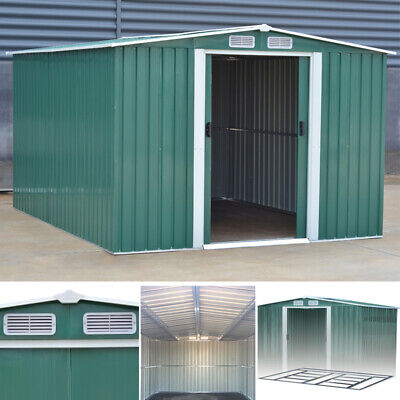Apex/pent Garden Shed Heavy Steel Metal Patio Tool Sheds W/ Air Vent Foundation • 269.95£