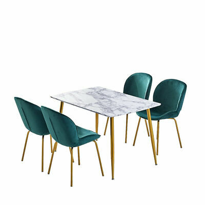Green Velvet Metal Legs Dining Chairs 4 & Marble Pattern Dining Table Dining Set • 199.59£