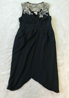 $ CDN30 • Buy Meadow Rue Black Tulip Embroidered Cocktail Dress Size 6 Anthropologie