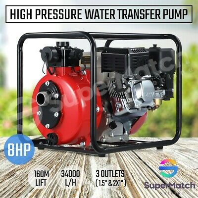 AU279.55 • Buy 8HP High Pressure Water Transfer Pump Petrol Fire Fighting Irrigation 3 Outlets