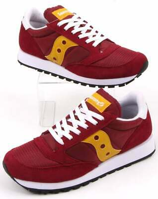 Saucony Jazz Original Vintage Trainers In Maroon & Yellow - Suede Nylon Retro • 45£