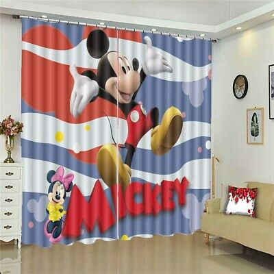 Palm Happy Mickey Mouse 3D Curtain Blockout Photo Printing Curtains Drape Fabric • 101.47£