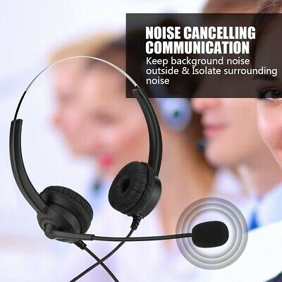 £6.18 • Buy Call Center Headset Telephone Corded Wired Microphone Office Head Phone Micphone