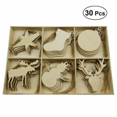 30pcs MDF Wooden Christmas Tree Shape Xmas Hanging Decor Blanks Craft Gift Lot • 5.99£
