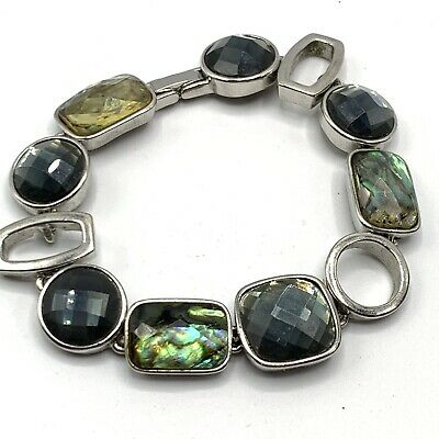 $ CDN19.98 • Buy Lia Sophia Abalone And Crystal Bracelet Faceted Silver Tone Linked