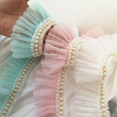 Ruffle Lace Trim With Pearl Skirt Dress Doll Collar Ribbon Sewing 6cm Width • 2.48£